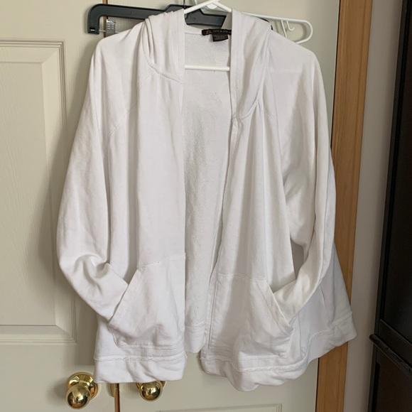 White open cardigan hoodie